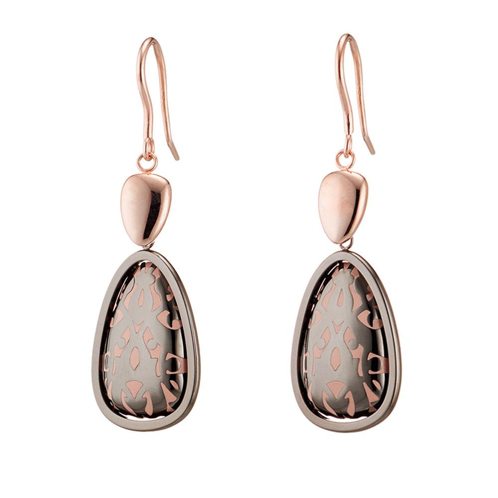 b422c62536 Oxette σκουλαρίκια 03X27-00233 από ροζ χρυσό και σκούρο γκρι ανοξείδωτο  ατσάλι (Stainless Steel) με ημιπολύτιμες πέτρες (Σμάλτο)