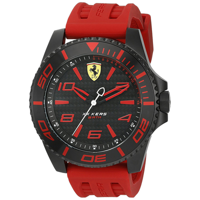 Ferrari Watch with black stainless steel and red rubber strap 0830308