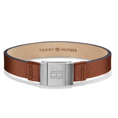 Tommy Hilfiger men's brown leather bracelet with stainless steel 2700949