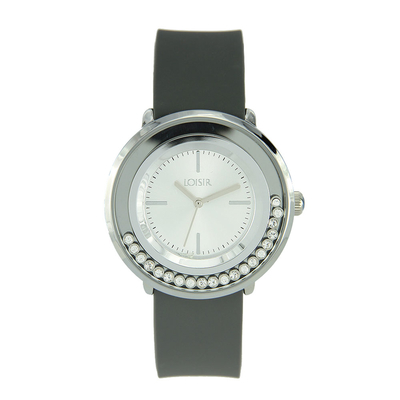 Loisir Watch 11L07-00269 with silver metallic case and silicon strap.
