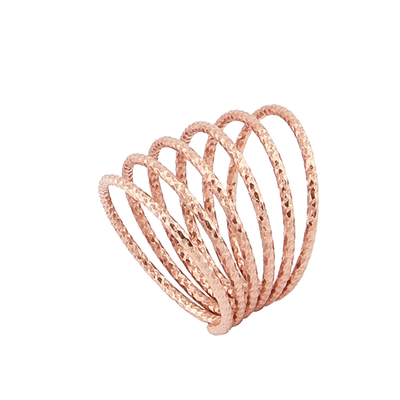 Oxette Sterling Silver Ring 04X05-01303 Spiral with Rose Gold Plating