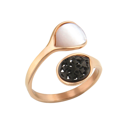 Oxette Rose Gold Stainless Steel Ring 04X27-00272 with semi precious stones (mother of pearl)