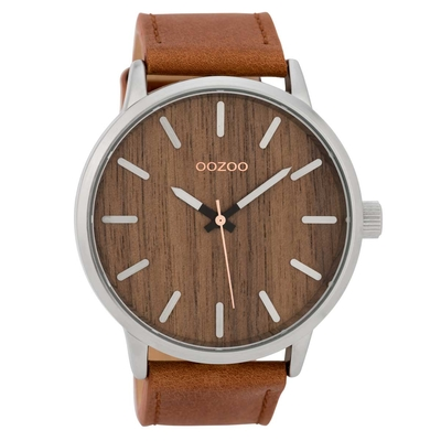 OOZOO Timepieces C9255 gents watch XL with silver metallic frame, wooden dial and cognac leather strap