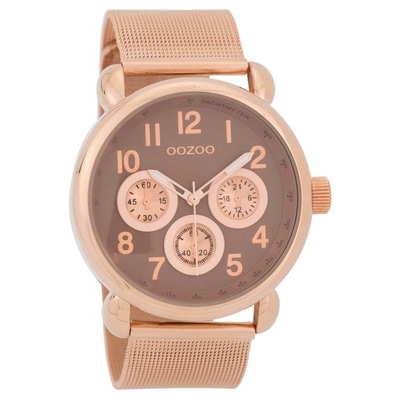 OOZOO Timepieces C9611 unisex watch with rose gold metallic frame and rose gold metal band