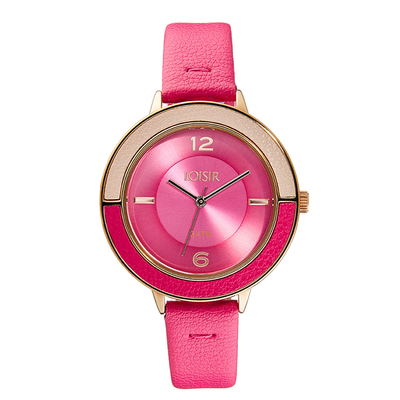 Loisir Watch 11L65-00177 with rose gold case and leather strap.