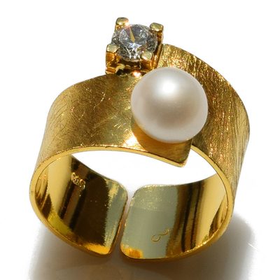 Handmade sterling silver ring Eight-Ring-RG-00697 with gold plating and semi-precious stones (pearls and cubic zirconia)
