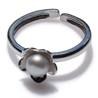 Handmade sterling silver ring Eight-Ring-RG-00699 flower with rhodium plating and semi-precious stones (pearls)