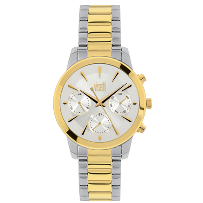 Visetti ladies watch PE-498SGI with silver and gold stainless steel frame and band