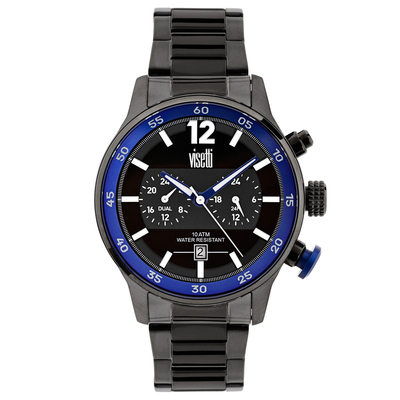 Visetti mens watch PE-692GUB with black stainless steel frame and band
