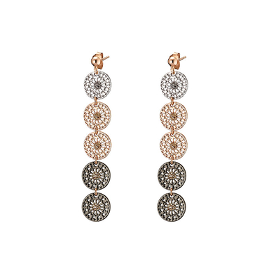 Loisir Earrings 03L15-00346 with Rose Gold Brass and semi precious stones (quartz crystals)