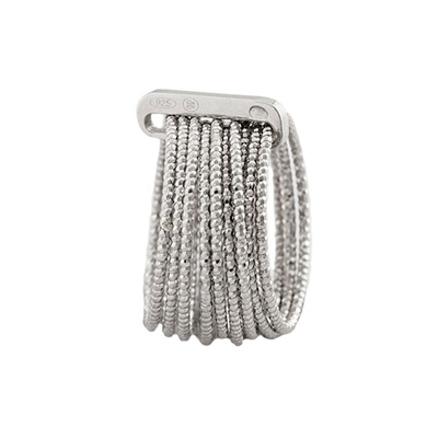 Oxette Sterling Silver Ring 04X01-03572 Spiral with Platinum Plating