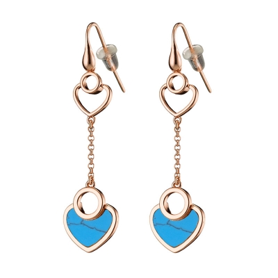 Loisir Earrings 03L15-00686 Hearts with Rose Gold Brass and semi precious stones (Turquoise)
