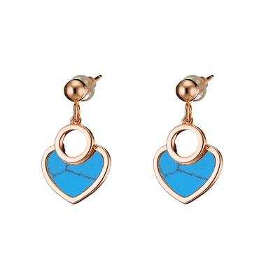 Loisir Earrings 03L15-00689 Hearts with Rose Gold Brass and semi precious stones (Turquoise)