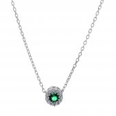 Σετ κοσμημάτων Prince Silvero (κολιέ, σκουλαρίκια και δαχτυλίδι) από επιπλατινωμένο ασήμι 925ο με ημιπολύτιμες πέτρες (ζιργκόν). JD-SE170G-SET κολιέ μέρος του σετ