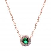 Σετ κοσμημάτων Prince Silvero (κολιέ, σκουλαρίκια και δαχτυλίδι) από ροζ επιχρυσωμένο ασήμι 925ο με ημιπολύτιμες πέτρες (ζιργκόν). JD-SE170G-R-SET κολιέ μέρος του σετ