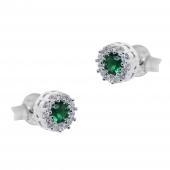 Σετ κοσμημάτων Prince Silvero (κολιέ, σκουλαρίκια και δαχτυλίδι) από επιπλατινωμένο ασήμι 925ο με ημιπολύτιμες πέτρες (ζιργκόν). JD-SE170G-SET σκουλαρίκια μέρος του σετ