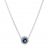 Σετ κοσμημάτων Prince Silvero (κολιέ, σκουλαρίκια και δαχτυλίδι) από επιπλατινωμένο ασήμι 925ο με ημιπολύτιμες πέτρες (ζιργκόν). JD-SE170M-SET κολιέ μέρος του σετ