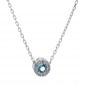 Σετ κοσμημάτων Prince Silvero (κολιέ, σκουλαρίκια και δαχτυλίδι) από επιπλατινωμένο ασήμι 925ο με ημιπολύτιμες πέτρες (ζιργκόν). JD-SE170Q-SET κολιέ μέρος του σετ