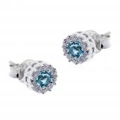 Σετ κοσμημάτων Prince Silvero (κολιέ, σκουλαρίκια και δαχτυλίδι) από επιπλατινωμένο ασήμι 925ο με ημιπολύτιμες πέτρες (ζιργκόν). JD-SE170Q-SET σκουλαρίκια μέρος του σετ