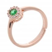 Σετ κοσμημάτων Prince Silvero (κολιέ, σκουλαρίκια και δαχτυλίδι) από ροζ επιχρυσωμένο ασήμι 925ο με ημιπολύτιμες πέτρες (ζιργκόν). JD-SE171G-R-SET δαχτυλίδι μέρος του σετ