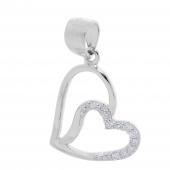Σετ κοσμημάτων Prince Silvero (μενταγιόν και σκουλαρίκια καρδιά) από επιπλατινωμένο ασήμι 925ο με ημιπολύτιμες πέτρες (ζιργκόν). YF-SE002-SET μενταγιόν μέρος του σετ