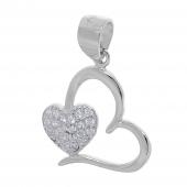 Σετ κοσμημάτων Prince Silvero (μενταγιόν και σκουλαρίκια καρδιά) από επιπλατινωμένο ασήμι 925ο με ημιπολύτιμες πέτρες (ζιργκόν). YF-SE013-SET μενταγιόν μέρος του σετ