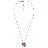 Χειροποίητο κολιέ Eight-Necklace-NK-00390 λουλούδι από ροζ επιχρυσωμένο ασήμι 925ο με ημιπολύτιμες πέτρες (πέρλες) Full
