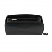 Ανδρικό πορτοφόλι Visetti LO-WA029B μακρόστενο με φερμουάρ από γνήσιο δέρμα σε μαύρο χρώμα ανοιγμένο