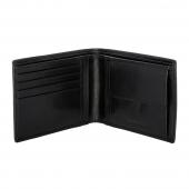 Ανδρικό πορτοφόλι Visetti XL-WA007B από γνήσιο δέρμα σε μαύρο χρώμα με ανάγλυφη λεπτομέρεια ανοιγμένο
