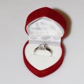 Χειροποίητο δαχτυλίδι μονόπετρο από επιπλατινωμένο ασήμι 925ο με ημιπολύτιμες πέτρες (ζιργκόν) IJ-010476-S στο κουτί συσκευασίας