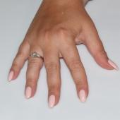 Χειροποίητο δαχτυλίδι μονόπετρο από επιπλατινωμένο ασήμι 925ο με ημιπολύτιμες πέτρες (ζιργκόν) IJ-010476-S φορεμένο στο χέρι