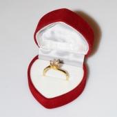 Χειροποίητο δαχτυλίδι μονόπετρο από επιχρυσωμένο ασήμι 925ο με ημιπολύτιμες πέτρες (ζιργκόν) IJ-010478-G στο κουτί συσκευασίας