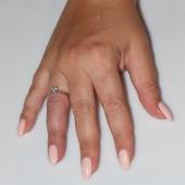 Χειροποίητο δαχτυλίδι μονόπετρο από επιπλατινωμένο ασήμι 925ο με ημιπολύτιμες πέτρες (ζιργκόν) IJ-010479-S φορεμένο στο χέρι