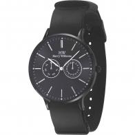 Harry Williams ρολόι από μαύρο ανοξείδωτο ατσάλι με μαύρο δερμάτινο λουράκι HW-2402J/03