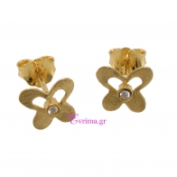 Handmade Earrings (Butterfly) with Sterling Silver Gold Plating and Precious Stones (Zirconia). Product Code : IJ-020355