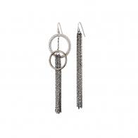 Oxette σκουλαρίκια 03X01-02666 κρίκοι από επιπλατινωμένο ασήμι