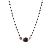 Oxette | Ασημένιο κολιέ Oxette από ροζ επιχρυσωμένο ασήμι 925ο με ημιπολύτιμες πέτρες (Κρύσταλλοι Quartz). [01X05-01571]