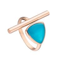 Oxette δαχτυλίδι από ροζ επιχρυσωμένο ασήμι 925ο με ημιπολύτιμες πέτρες (Κρύσταλλοι Quartz). [04X05-01196]