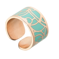 Δαχτυλίδι Loisir από ανοξείδωτο ατσάλι (Stainless Steel) με ημιπολύτιμες πέτρες (Σμάλτο) και Ion Plated Rose Gold. 04L27-00670
