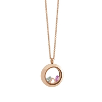 Loisir κολιέ 01L03-00410-JULY από ανοξείδωτο ατσάλι (Stainless Steel) με ημιπολύτιμες πέτρες (Κρύσταλλοι Quartz) και Ion Plated Rose Gold