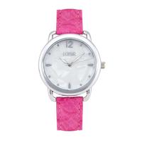 Loisir ρολόι 11L06-00382 με ασημί μεταλλική κάσα και δερμάτινο λουράκι