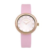 Loisir ρολόι 11L65-00134 με ροζ χρυσή μεταλλική κάσα και δερμάτινο λουράκι