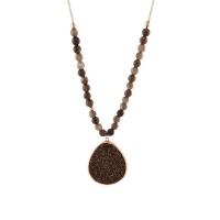 Oxette κολιέ 01X05-02043 από ροζ επιχρυσωμένο ασήμι 925ο με ημιπολύτιμες πέτρες (Κρύσταλλοι Quartz και Αχάτης)