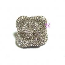 Loisir | Ασημένια καρφίτσα - μενταγιόν Loisir από επιπλατινωμένο ασήμι 925ο με ημιπολύτιμες πέτρες (Κρύσταλλοι Quartz). [06L01-00387]