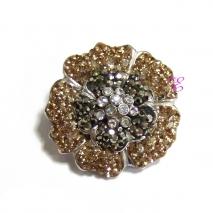 Loisir | Ασημένια καρφίτσα Loisir από επιπλατινωμένο ασήμι 925ο με ημιπολύτιμες πέτρες (Κρύσταλλοι Quartz). [06L01-00394]