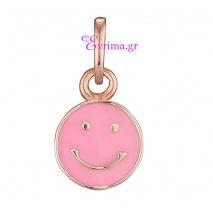 Loisir | Ασημένιο μενταγιόν Loisir από ροζ επιχρυσωμένο ασήμι 925ο με ημιπολύτιμες πέτρες (Σμάλτο). [05L05-00420]