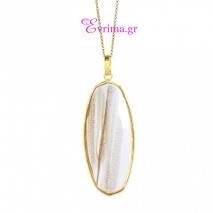 Oxette | Ασημένιο μενταγιόν Oxette από επιχρυσωμένο ασήμι 925ο με ημιπολύτιμες πέτρες (Rutilate). [05X05-00308]