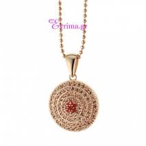 Oxette | Ασημένιο μενταγιόν Oxette από ροζ επιχρυσωμένο ασήμι 925ο με ημιπολύτιμες πέτρες (Ζιργκόν). [05X05-00333]