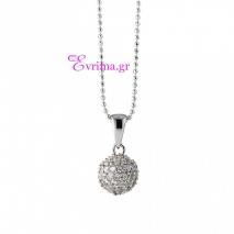 Oxette | Ασημένιο μενταγιόν Oxette από επιπλατινωμένο ασήμι 925ο με ημιπολύτιμες πέτρες (Ζιργκόν). [05X01-01584]