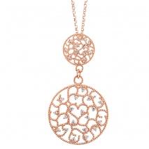 Oxette κολιέ 01X05-01302 από ροζ επιχρυσωμένο ασήμι 925ο με ημιπολύτιμες  πέτρες (Ζιργκόν) fde8d8908eb